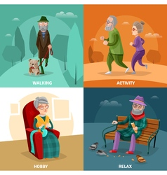 Old people cartoon concept vector