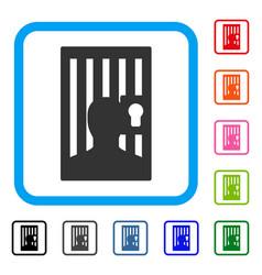 Prison locked door framed icon vector