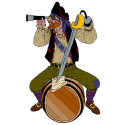 Red haired pirate looks through a spyglass vector image