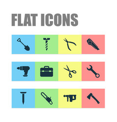 repair icons set collection of tool saw hammer vector image vector image