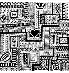 Seamless asian ethnic floral retro doodle black vector