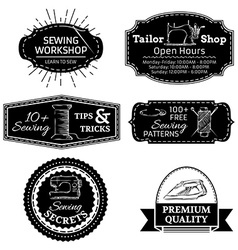 Set of sewing linear retro badges labels logo vector