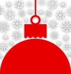 Snowflake Background with Christmas Paper Ball vector image