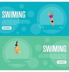 Swiming website template set horizontal banners vector