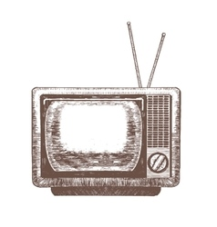 Tv retro hand draw sketch vector