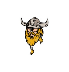 Viking warrior head retro vector