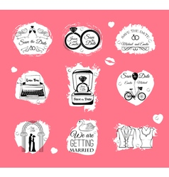 Wedding invitations badges and icons - set - vector