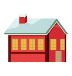 Winter cabin icon vector