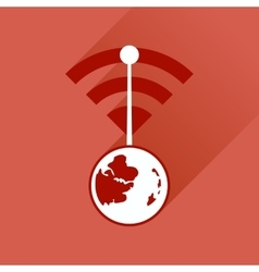 Flat icon with long shadow globe internet vector