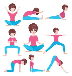 Yoga life women yoga poses set vector