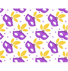 Mardi gras seamless pattern with carnival mask vector