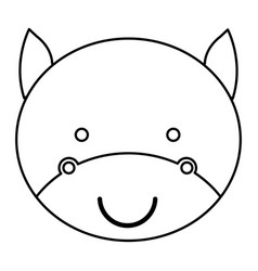 Silhouette caricature face cute bull animal vector