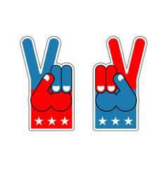Foam finger victory symbol of usa patriot vector