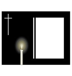Funeral frame with a candle and a cross sad vector