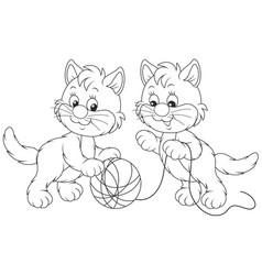Little kittens playing vector