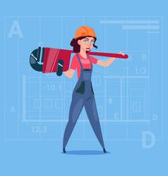 cartoon female builder wearing uniform and helmet vector image