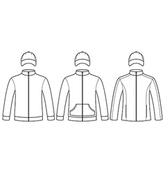 Blank caps and sweatshirts template vector