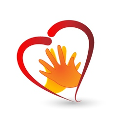 Hands and heart symbol logo vector image