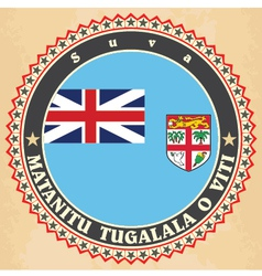 Vintage label cards of fiji flag vector