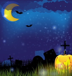 Jack o lantern on a night cemetery vector