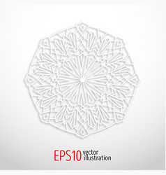 3d white geometric mandala arabesque design vector