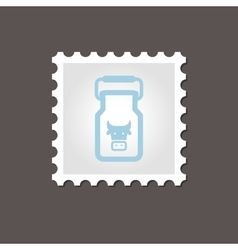 Can container for milk stamp outline vector