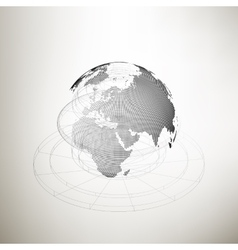 Three-dimensional dotted world globe with abstract vector