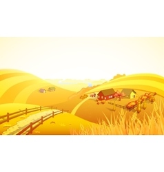 Autumn farm landscape composition vector