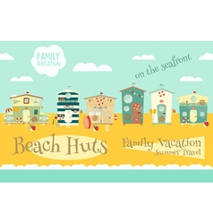 Beach huts on seafront vector
