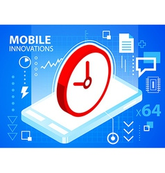 bright mobile phone and clock on blue backgr vector image vector image