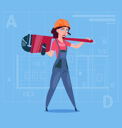 cartoon female builder wearing uniform and helmet vector image vector image