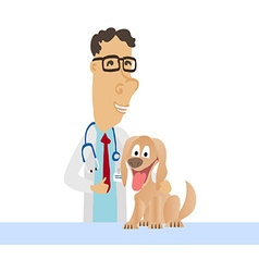 Cartoon Medical Man on white coat with dog vector image vector image