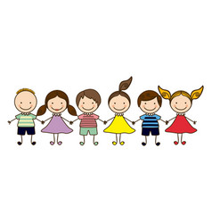 colorful front view group cartoon children vector image vector image