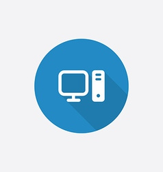 computer Flat Blue Simple Icon with long shadow vector image vector image