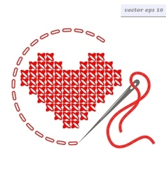 cross stich heart vector image