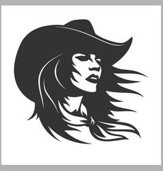 Cute cowgirl 2 - retro clip art vector