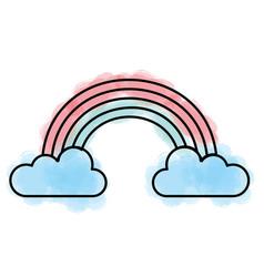 Cute fantasy rainbow icon vector