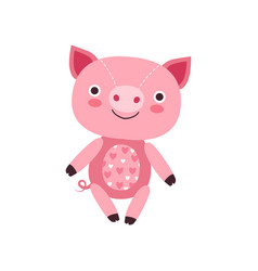 cute soft pink piggy plush toy stuffed cartoon vector image vector image