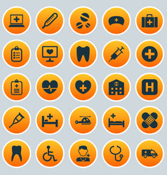 Drug icons set collection of heal chest cure vector