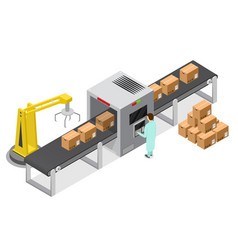 factory conveyor system belt isometric view vector image