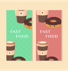fast food banners with donut and coffee graphic vector image vector image