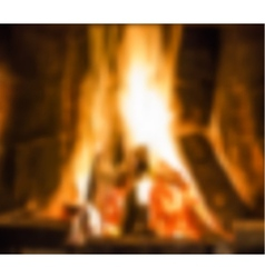 Fireplace with fire vector image