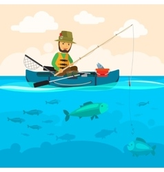 Fisherman on a boat vector