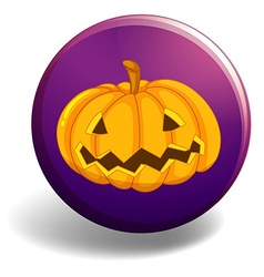 Halloween badge with pumpkin vector image
