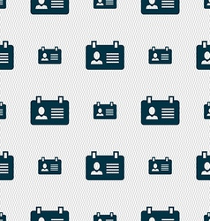 Identification card icon sign seamless pattern vector