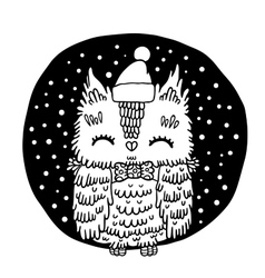 Merry christmas greeting background with an owl vector