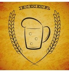 Mug beer with ears of wheat on grunge yellow vector image vector image