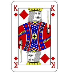 Poker playing card King diamond vector image vector image