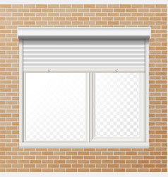Rolling shutters brick wall white vector