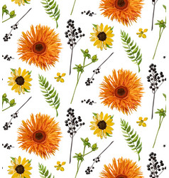 Seamless floral pattern element of orange yellow vector